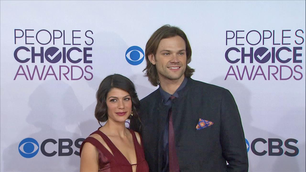 Jared Padalecki (Supernatural) and his wife Genevieve attend the 2013 Peoples Choice Awards on Jan. 9, 2013 in Los Angeles.