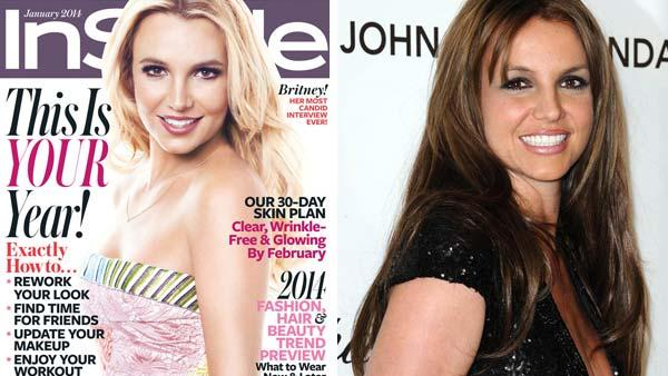 Left -- Britney Spears appears on the January 2014 issue of InStyle Magazine. Right -- Britney Spears, in brunette hair, appears at the 21st annual Elton John AIDS Foundation Academy Awards Viewing Party on Feb. 24, 2013.