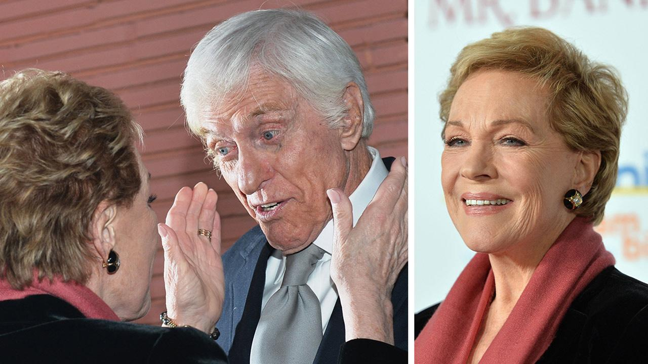 Mary Poppins stars Julie Andrews and Dick Van Dyke appear at the premiere of Saving Mr. Banks at the Walt Disney Studios in Burbank, California on Dec. 9., 2013.