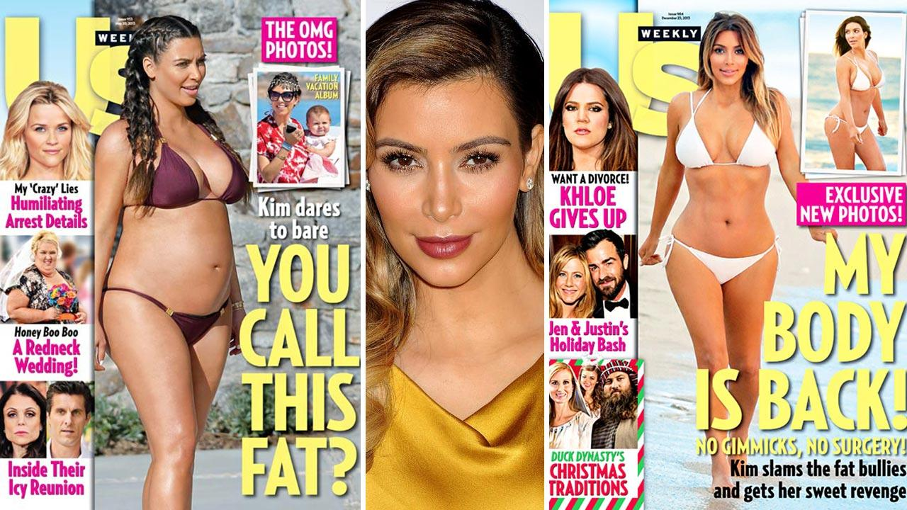 Kim Kardashian appears in a bikini on the cover of Us Weeklys Dec. 25, 2013 issue. / A pregnant Kim Kardashian appears in a bikini on the cover of Us Weeklys May 20, 2013 issue.