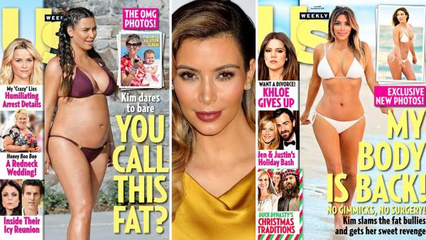Kim Kardashian appears in a bikini on the cover of Us Weeklys Dec. 25, 2013 issue. / A pregnant Kim Kardashian appears in a bikini on the cover of Us Weeklys May 20, 2013 issue. - Provided courtesy of Us Weekly / Wenner Media