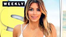 Kim Kardashian appears in a bikini on the cover of Us Weeklys Dec. 25, 2013 issue. The reality star gave birth to her and boyfriend Kanye Wests daughter, North West, the previous June. - Provided courtesy of Us Weekly / Wenner Media