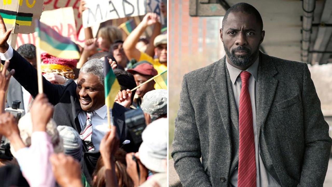 Idris Elba appears as Nelson Mandela in a scene from Mandela: Long Walk to Freedom. / Idris Elba appears in a promotional photo for the BBC series Luther, which also airs on BBC America.Videovision Entertainment / The Weinstein Company / BBC