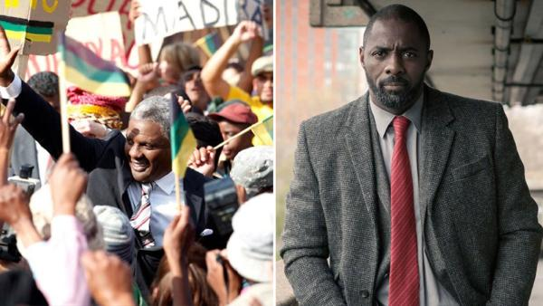 Idris Elba appears as Nelson Mandela in a scene from 'Mandela: Long Walk to Freedom.' / Idris Elba appears in a promotional photo for the BBC series 'Luther,' which also airs on BBC America.