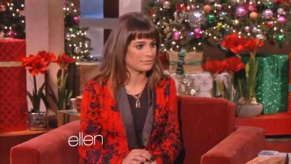 Lea Michele talked about Cory Monteith during her appearance on an episode of The Ellen Degeneres Show, which aired on Dec. 12, 2013. - Provided courtesy of Warner Bros. Television
