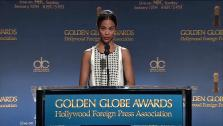Zoe Saldana announces several nominees for the 2014 Golden Globe Awards at a press conference at the Beverly Hilton hotel in Beverly Hills, California on Dec. 12, 2013. - Provided courtesy of OTRC