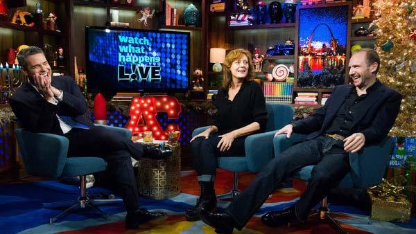 Susan Sarandon appears on Watch What Happens Live with Andy Cohen and Ralph Fiennes on Dec. 11, 2013. - Provided courtesy of Charles Sykes / Bravo
