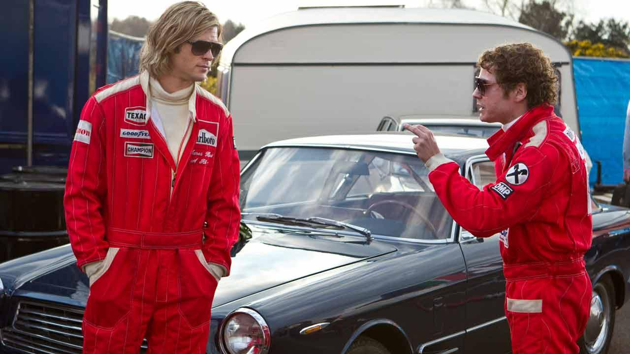 L-R: Chris Hemsworth and Daniel Bruhl appear in a still from the film Rush.Universal Pictures