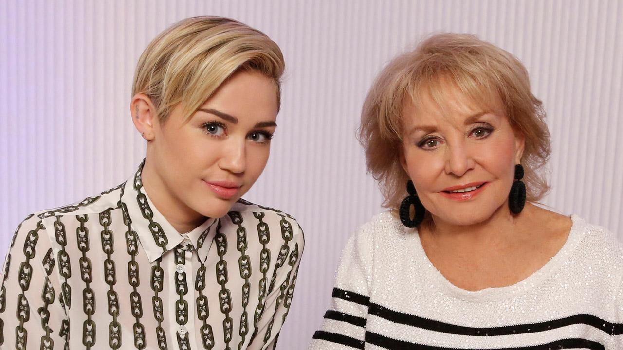 Miley Cyrus and Barbara Walters appear in a promotional photo for Barbara Walters Presents: The 10 Most Fascinating People of 2013.