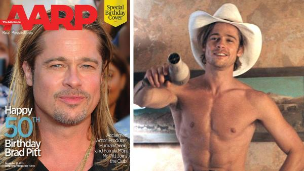 Brad Pitt appears on a special 50th birthday cover of AARP the Magazine on Dec. 18, 2013. / Brad Pitt appears in a scene from the 1991 movie Thelma and Louise. - Provided courtesy of AARP / Jamie McCarthy / Getty Images / MGM