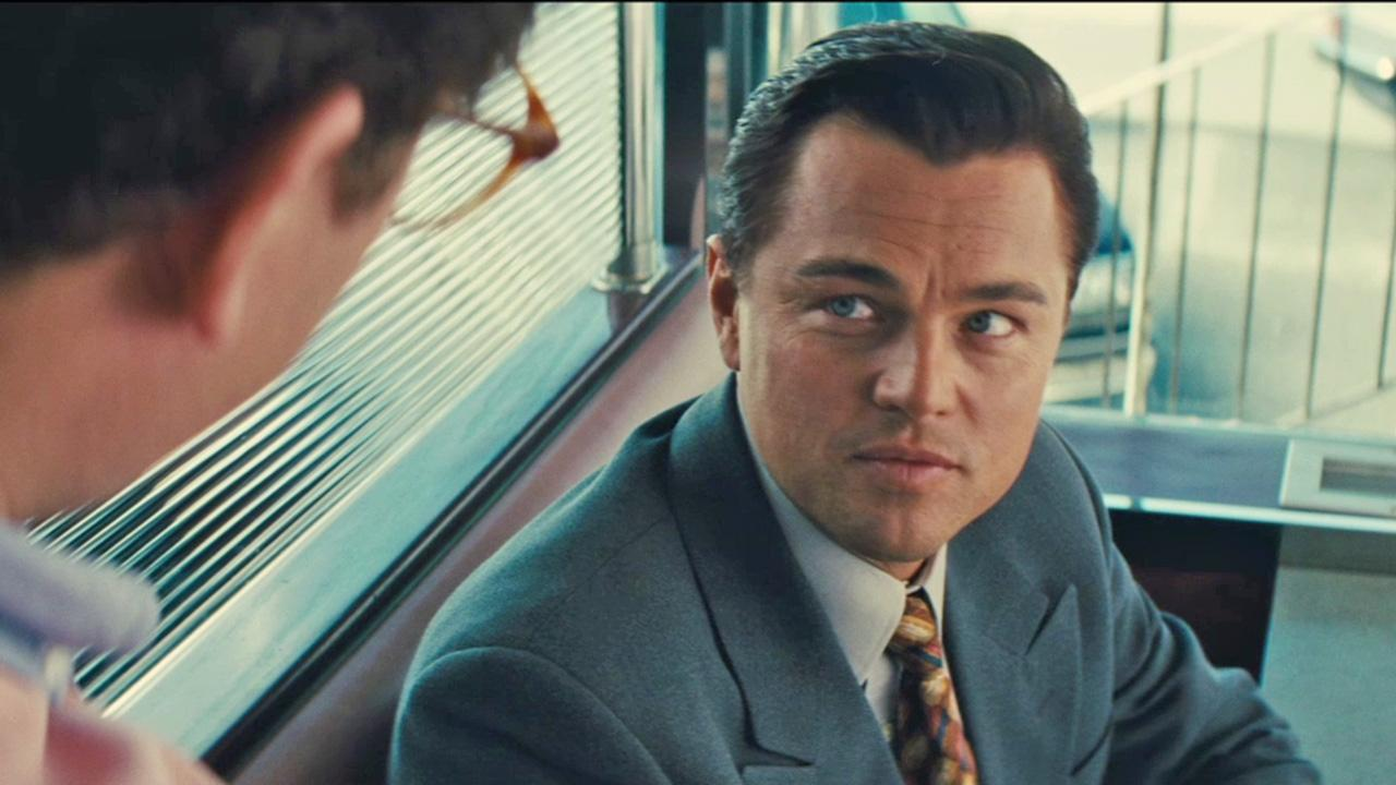 Leonardo DiCaprio appears in a scene from the 2013 movie The Wolf of Wall Street. DiCaprio plays main character Jordan Belfort, whose career is derailed by crime and corruption.