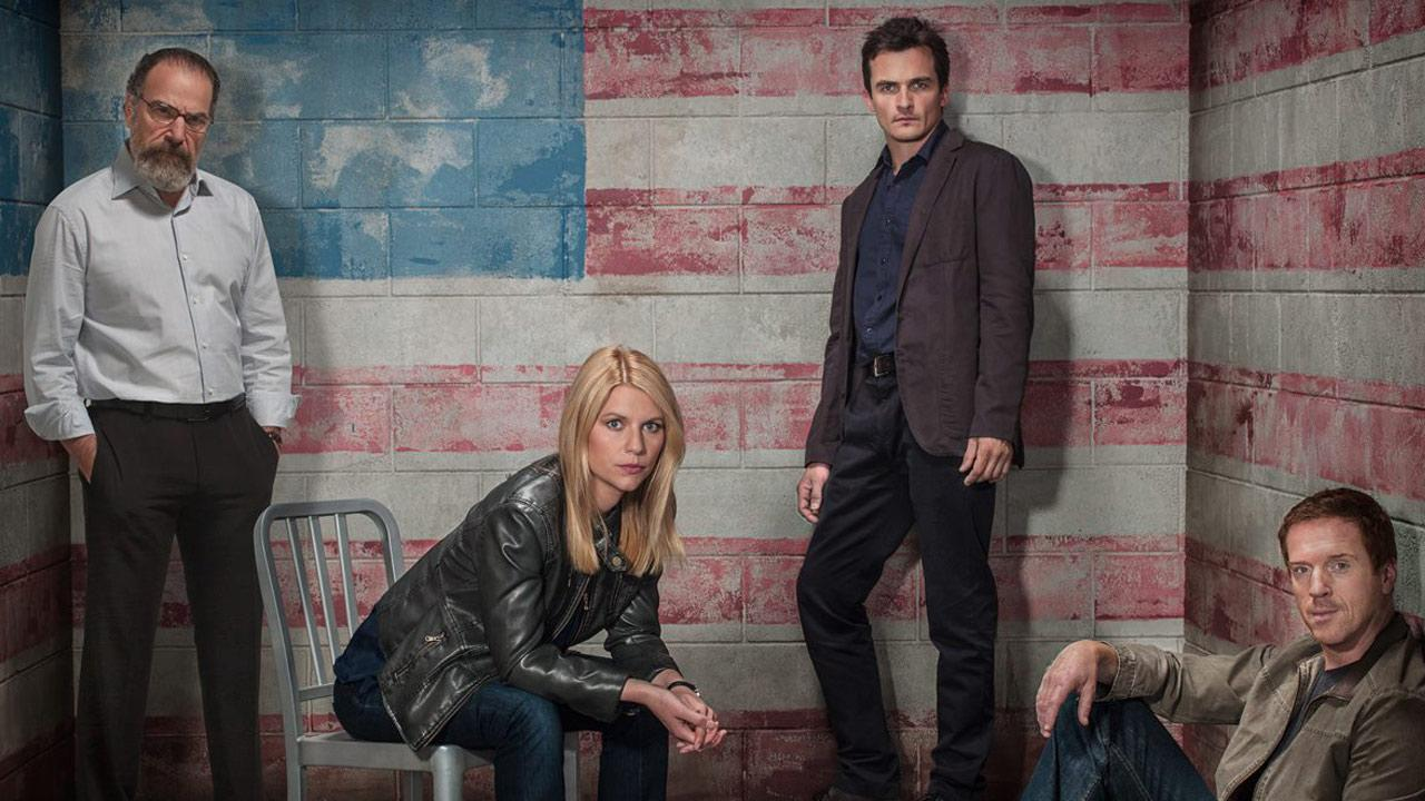Claire Danes, Damian Lewis, Mandy Patinkin and Rupert Friend appear in an undated promotional photo for Homeland season 3 in 2013.