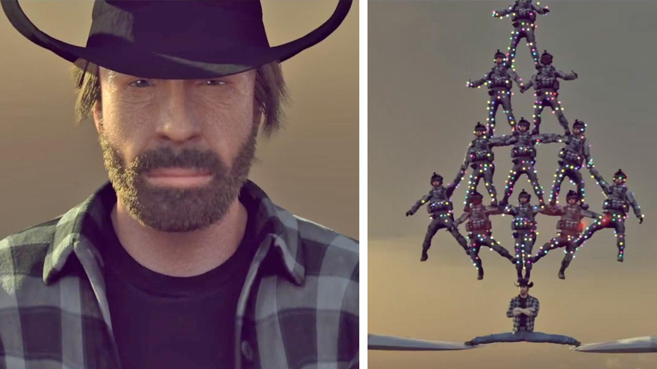 Chuck Norris stars in a parody video that spoofs Jean-Claude Van Dammes Epic Split, posted online on Dec. 18, 2013.