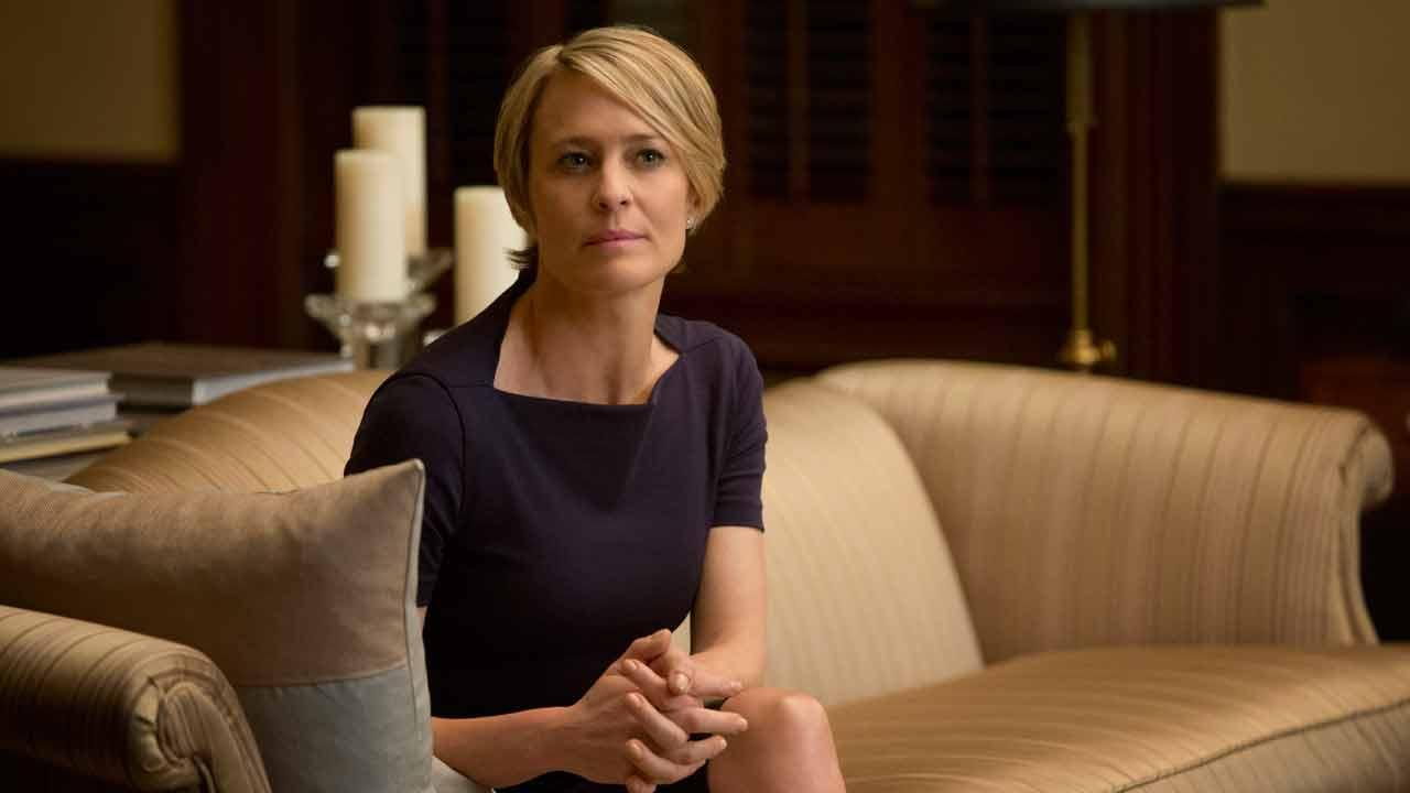 Robin Wright appears in a scene from a 2013 episode of House of Cards. She plays Claire Underwood.