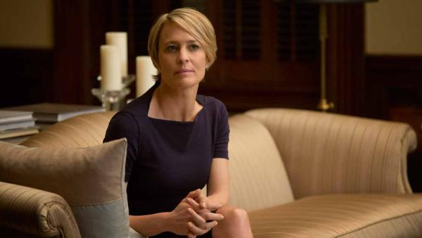 Robin Wright appears in a scene from a 2013 episode of House of Cards. She plays Claire Underwood. - Provided courtesy of Netflix