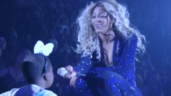 Beyonce sings to terminally-ill cancer patient Taylon at her concert in Las Vegas on Dec. 6, 2013. She later danced with the girl, fulfilling her dying wish. This image is seen in a video of the event, posted on Beyonces YouTube page on Christmas Eve. - Provided courtesy of youtube.com/user/beyonce