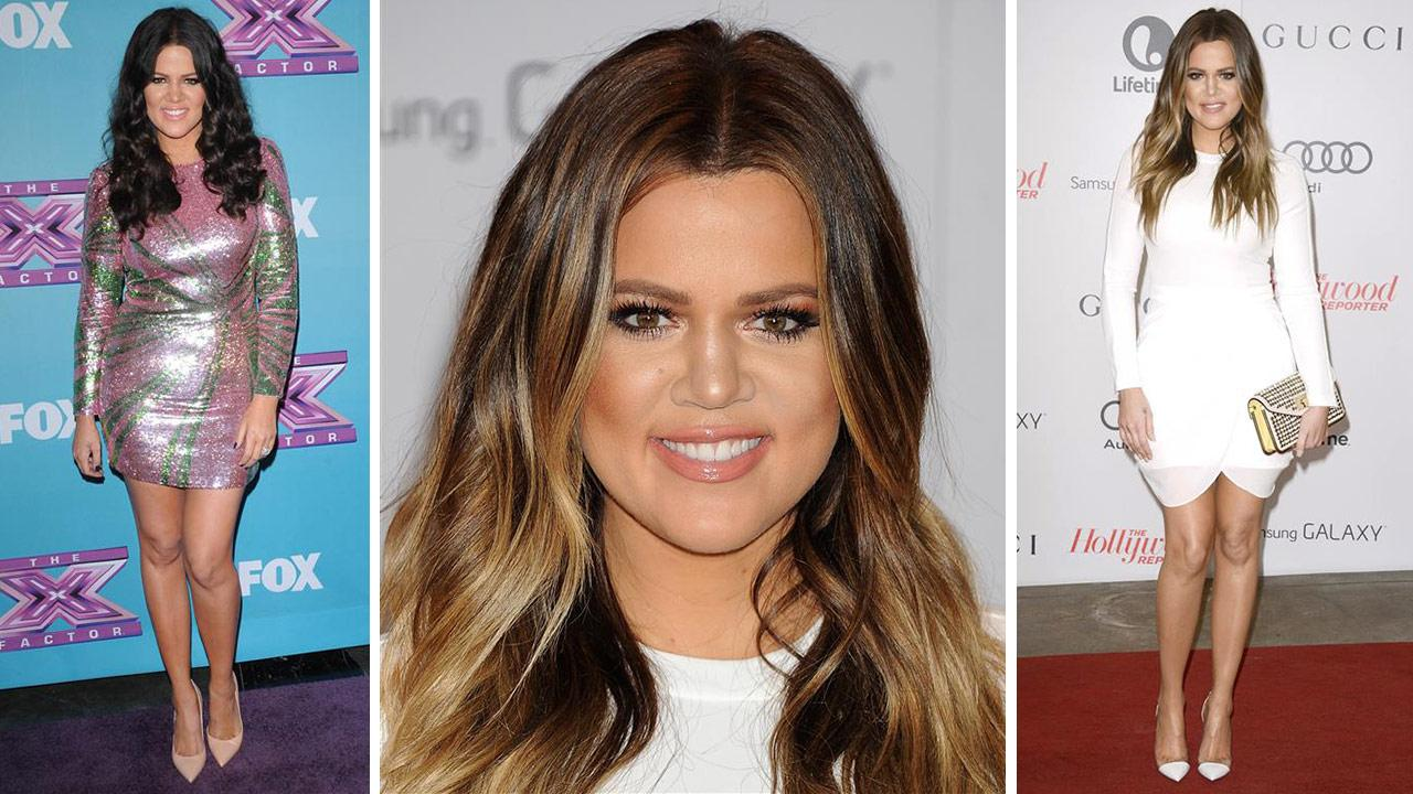 Khloe Kardashian attends the Hollywood Reporters 2013 Women In Entertainment Breakfast in Beverly Hills, California on Dec. 11, 2013. / Khloe Kardashian attends the finale of The X Factor in Los Angeles on Dec. 20, 2012.