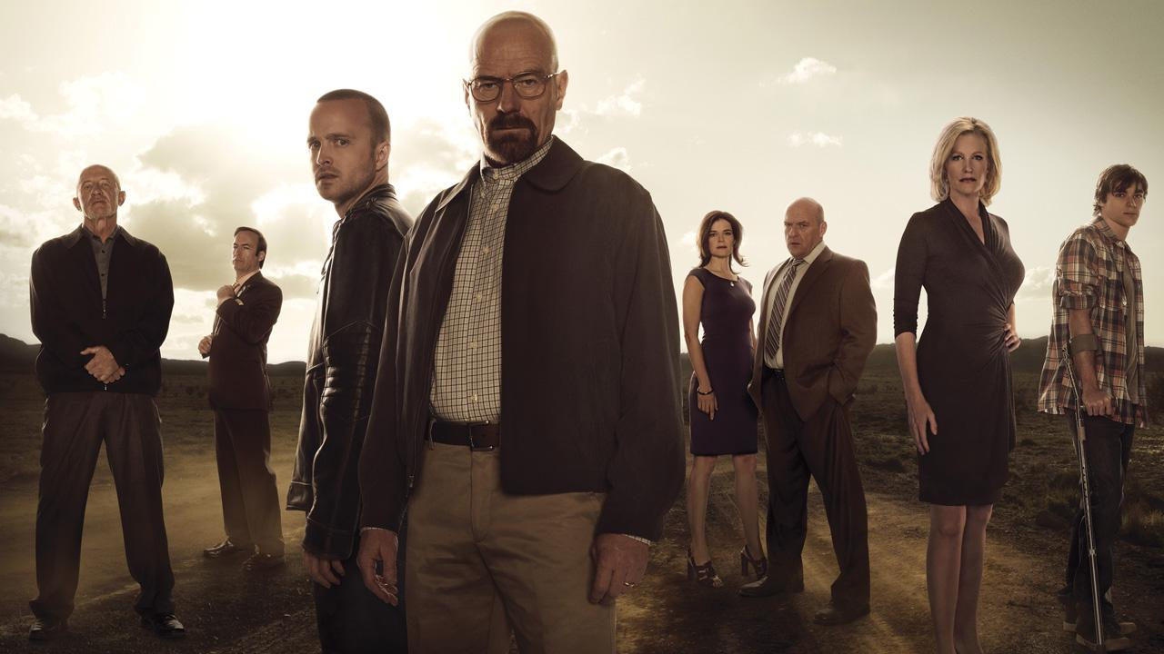 Jonathan Banks, Bob Odenkirk, Aaron Paul, Bryan Cranston, Betsy Brandt, Dean Norris, Anna Gunn and RJ Mitte appear in a promotional photo for Breaking Bad season 5 in 2013.