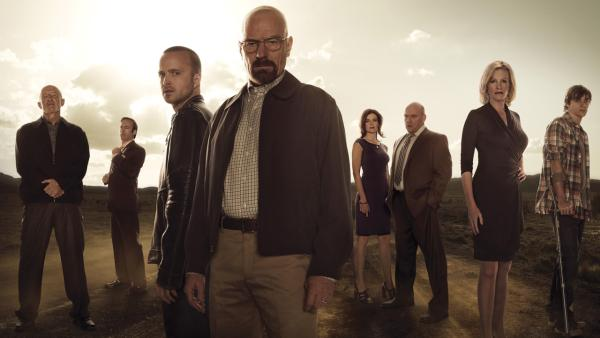 Jonathan Banks, Bob Odenkirk, Aaron Paul, Bryan Cranston, Betsy Brandt, Dean Norris, Anna Gunn and RJ Mitte appear in a promotional photo for Breaking Bad season 5 in 2013. - Provided courtesy of Frank Ockenfels/AMC
