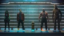 Chris Pratt, Zoe Saldana, a raccoon voiced by Bradley Cooper, Dave Bautista and Vin Diesel appear in an official cast photo for Marvels Guardians of the Galaxy, set for release on Aug. 1, 2014. - Provided courtesy of Marvel / Walt Disney Studios