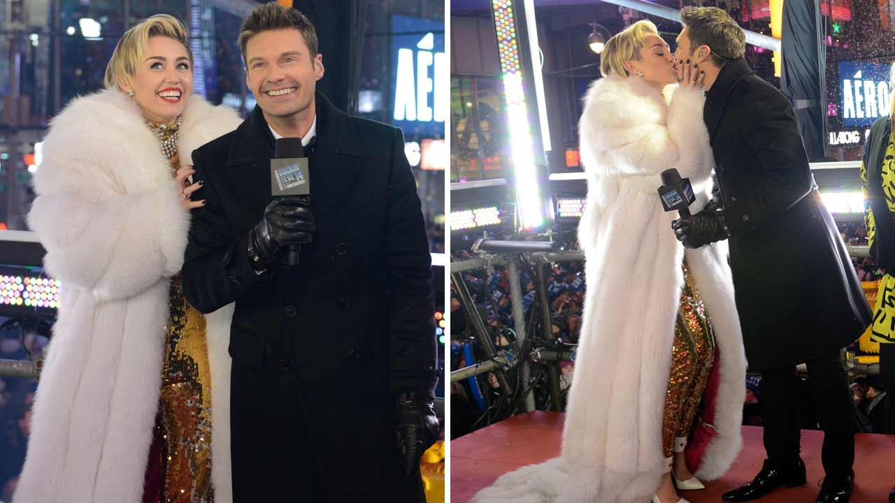 Miley Cyrus and Ryan Seacrest appear on Dick Clarks New Years Rockin Eve with Ryan Seacrest in New York City on Dec. 31, 2013.