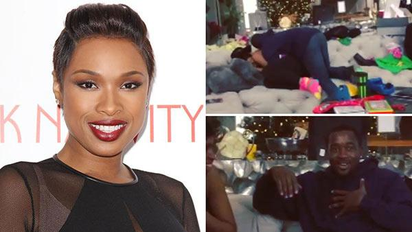 Jennifer Hudson appears at the premiere of 'Black Nativity' in New York on Nov. 18, 2013. / Jennifer Hudson's assistant Walter reacts to finding out the singer bought him a house for Christmas, as seen in an Instagram video posted on Dec. 31, 2013.