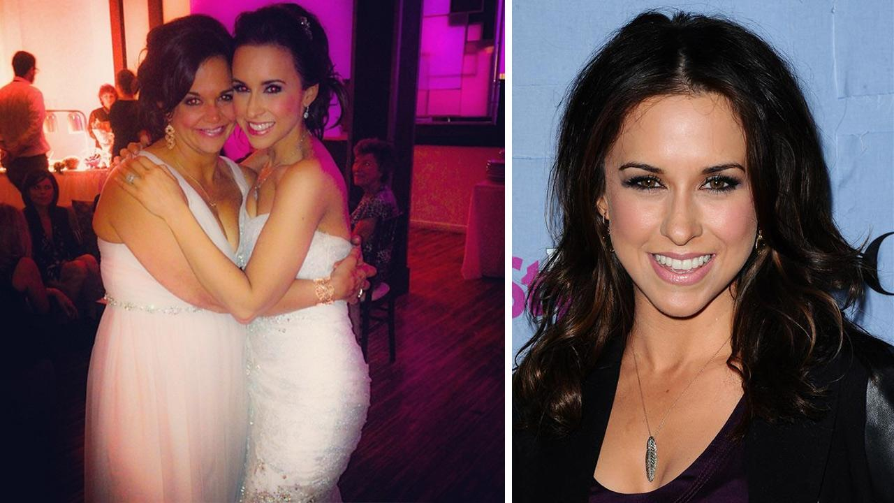 Lacey Chabert of Mean Girls fame posted on her Instagram page on Jan. 3, 2014 this photo of herself at her own wedding, with her sister. / Lacey Chabert appears at the People Stylewatch Hollywood Denim Party in West Hollywood on Sept. 19, 2013.