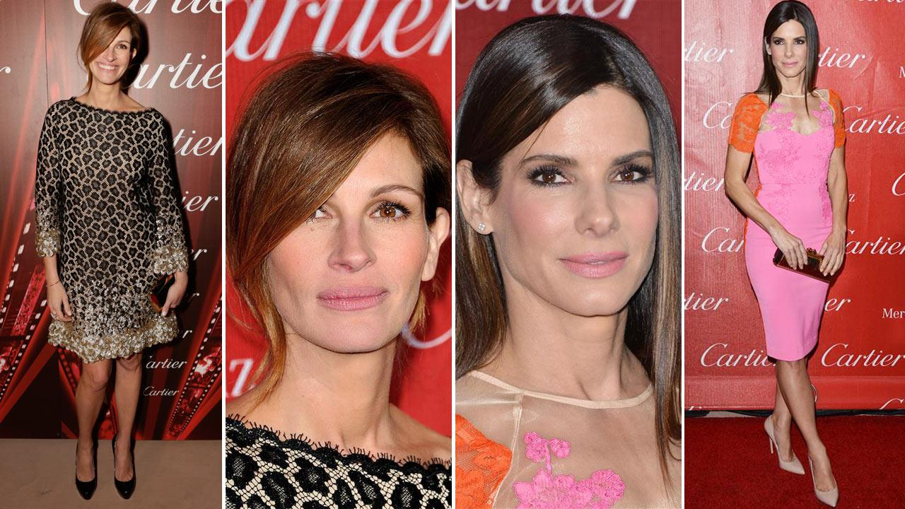 Sandra Bullock and Julia Roberts appear at the 2014 Palm Springs International Film Festival Awards Gala on Jan. 4, 2013.