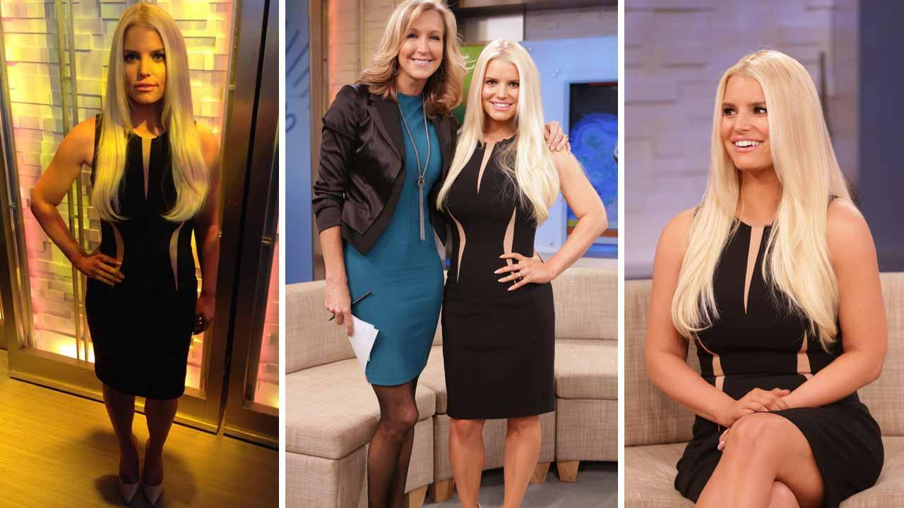 Jessica Simpson appears in a photo posted on her official Twitter account, showing off her slimmed down body before her Good Morning America interview on Jan. 7, 2014.