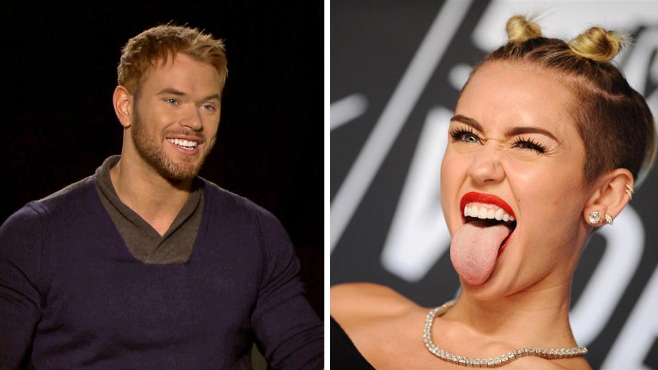 Kellan Lutz talks to OTRC.com in December 2013 about the movie The Legend of Hercules. / Miley Cyrus appears at the MTV Video Music Awards on Aug. 25, 2013. On Jan. 8, 2014 on the Today show, Lutz responded a rumor that claimed that two were dating.