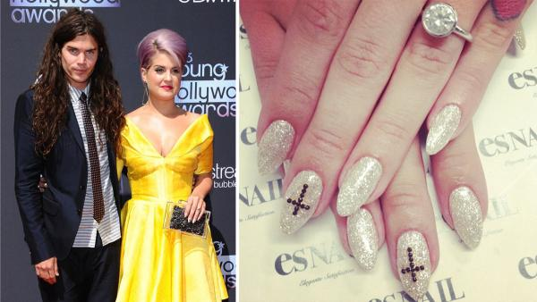 Kelly Osbourne and Matthew Mosshart walk the red carpet at the 2013 Young Hollywood Awards in Los Angeles on Aug. 1, 2013. / Kelly Osbourne shows her custom Tiffany engagement ring in an Instagram photo posted on July 20, 2013.