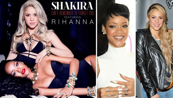 Shakira and Rihanna appear on the cover art, released on Jan. 9, 2013, for their single Cant Remember to Forget You. - Provided courtesy of Instagram.com/badgalriri / Sara De Boer/startraksphoto.com / Top Photo/Startraksphoto.com