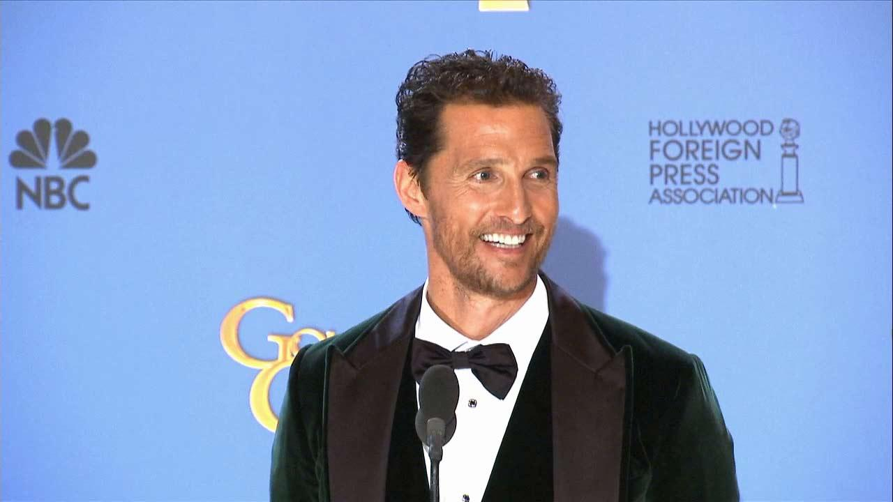 Matthew McConaughey talks after winning an award at the 2014 Golden Globe Awards in Beverly Hills, California on Sunday, Jan. 12.