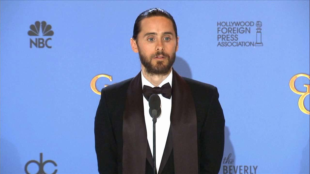 Jared Leto talks after winning an award at the 2014 Golden Globe Awards in Beverly Hills, California on Sunday, Jan. 12.