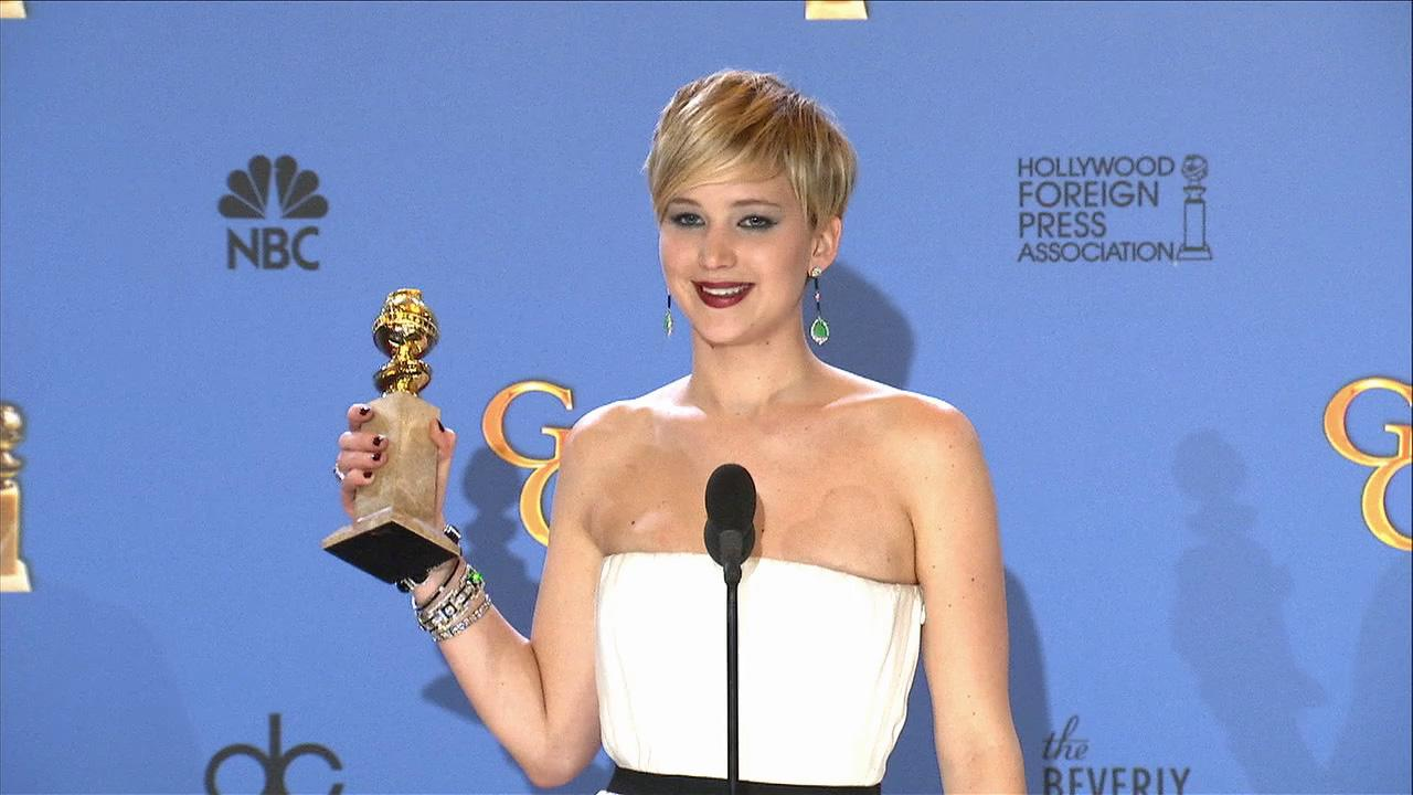 Jennifer Lawrence speaks backstage after the 2014 Golden Globes on Sunday, Jan. 12.