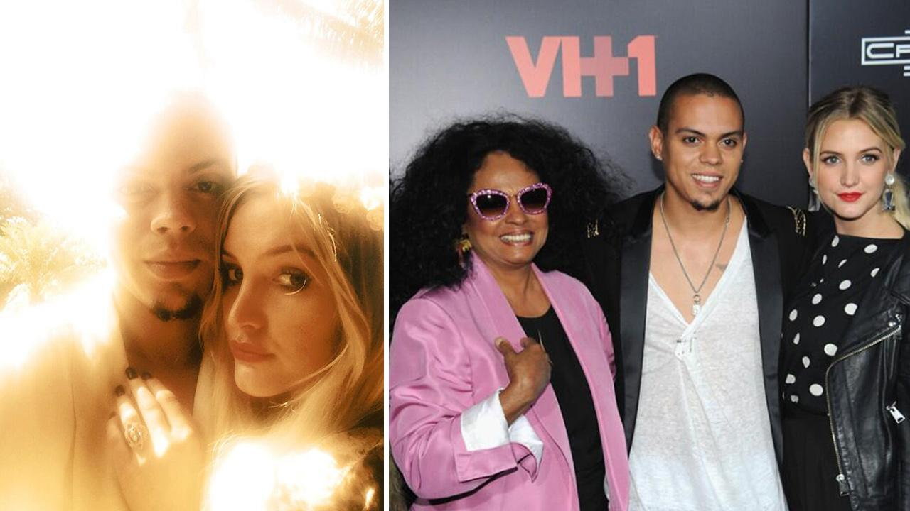 Ashlee Simpson and Evan Ross appear in a Twitter photo posted on Jan. 13, 2014, in which she announced they are engaged. / Ashlee Simpson and Evan Ross are pictured with mother Diana Ross in a Twitter photo posted on Dec. 11, 2013.