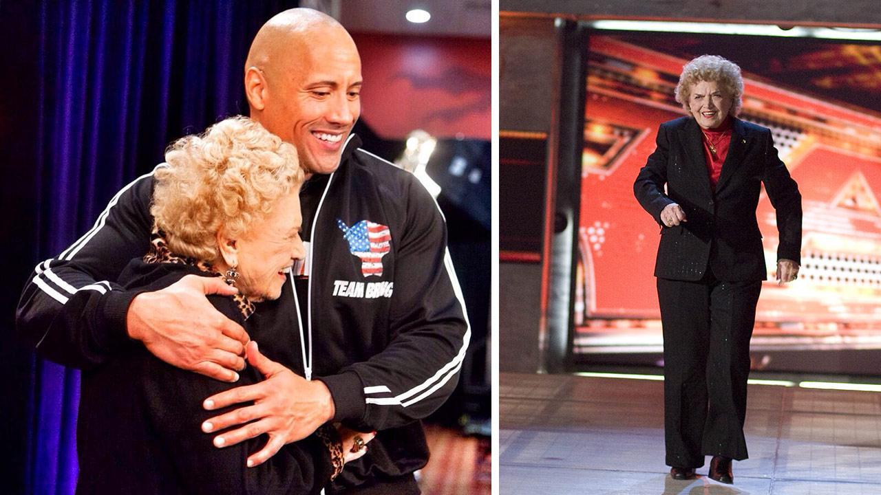 The legendary former WWE Diva Mae Young died at age 90 on Jan. 14, 2014. Pictured: Dwayne Johnson is seen hugging Mae Young in this photo, posted on his Twitter page that day. / Mae Young is seen in an undated WWE.com publicity photo.