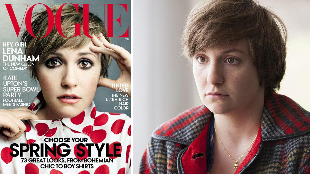 Girls creator and actress Lena Dunham appears on the February 2014 cover of Vogue -- her first appearance on the cover of the fashion magazine. / Lena Dunham appears as Hannah in a scene from a season 3 episode of Girls.