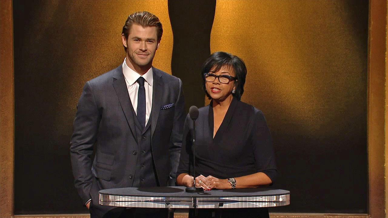 Chris Hemsworth and A.M.P.A.S. President Cheryl Boone Isaacs announce the 2014 Oscar nominees on Jan. 16.