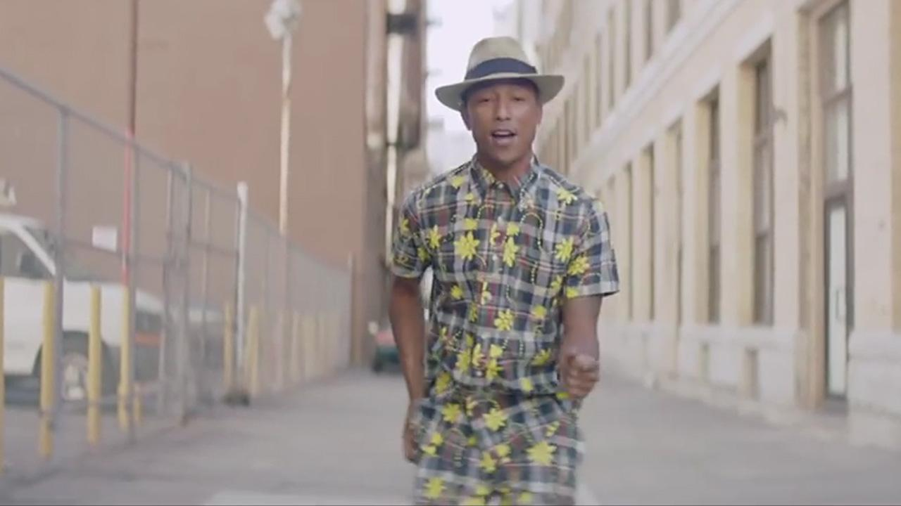 Pharrell Williams appears in the 11 a.m. music video for his song Happy, which was released on Nov. 22, 2013.24hoursofhappy.com/