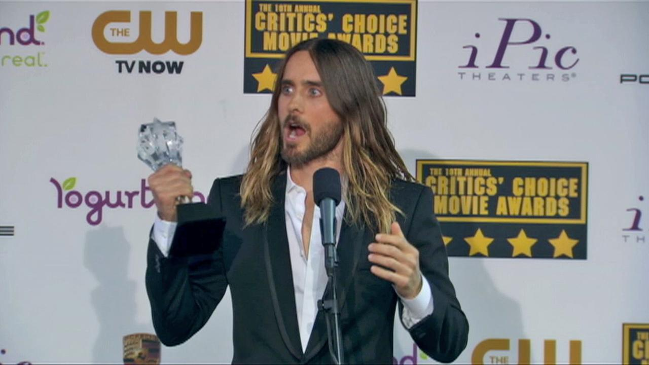 Jared Leto speaks backstage at the 2014 Critics Choice Movie Awards on Jan. 16. The actor and Thirty Seconds To Mars singer won an award for his role in the movie Dallas Buyers Club.