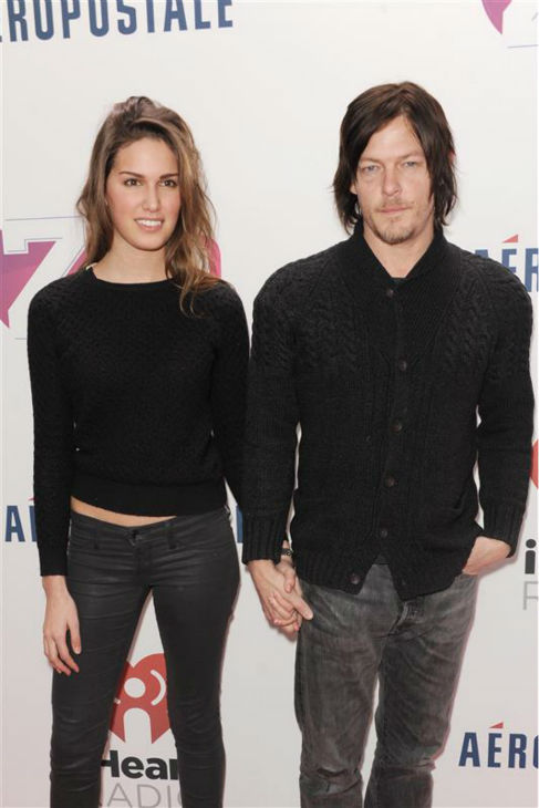 "<div class=""meta ""><span class=""caption-text "">Norman Reedus, who plays Daryl Dixon on AMC's 'The Walking Dead,' and swimsuit model Cecilia Singley walk the red carpet at the 2013 Z100 Jingle Ball on Dec. 13, 2013. (Bill Davila / Startraksphoto.com)</span></div>"