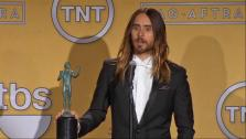 Jared Leto talks after winning an award at the 2014 Screen Actors Guild Awards in Los Angeles, California on Jan. 18, 2014. - Provided courtesy of none / OTRC