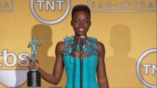 Lupita Nyongo talks after winning an award at the 2014 Screen Actors Guild Awards in Los Angeles, California on Jan. 18, 2014. - Provided courtesy of none / OTRC