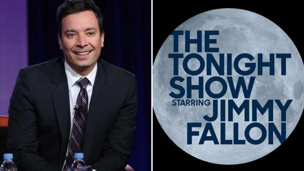 Left -- Jimmy Fallon appears at the NBC Winter Press Tour in January 2014. Right -- The new logo for The Tonight Show with Jimmy Fallon. - Provided courtesy of Chris Haston / NBC / twitter.com/jimmyfallon