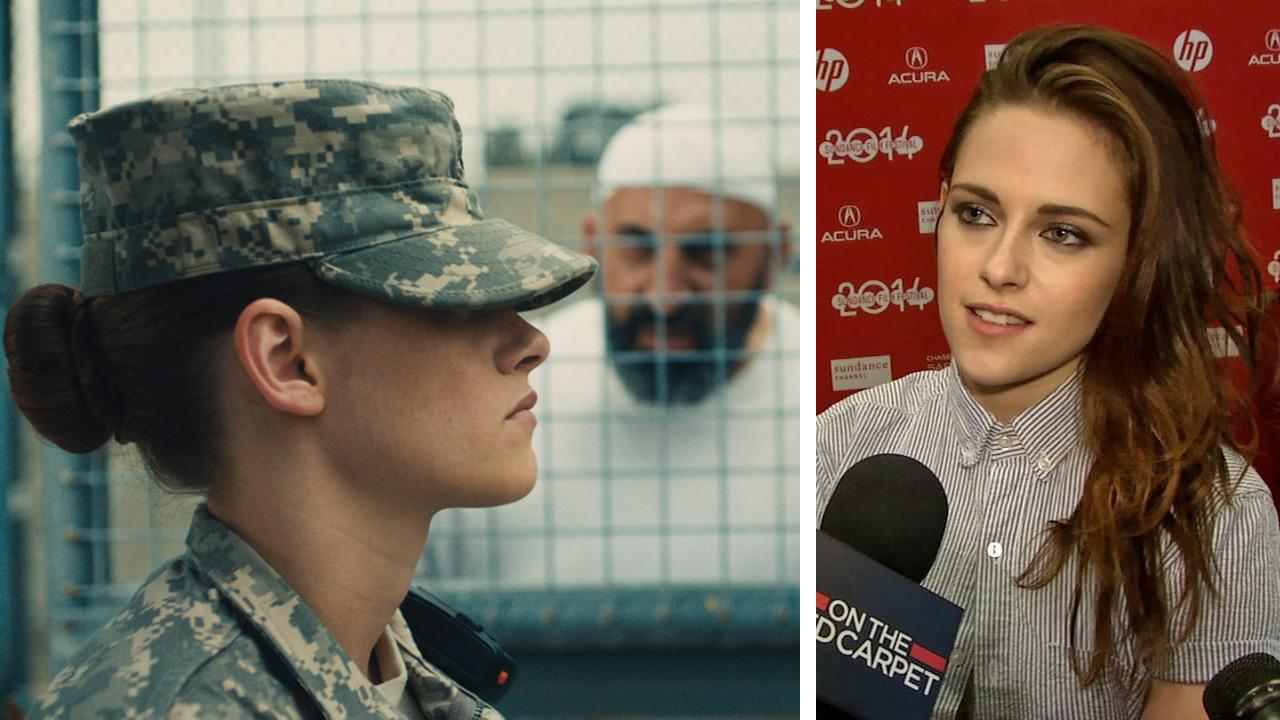 Kristen Stewart appears in a scene from the movie Camp X-Ray, in which she plays a U.S. soldier and Guantanamo Bay guard. / Kristen Stewart talks to OTRC.com at the films premiere at the Sundance Film Festival on Jan. 17, 2014.