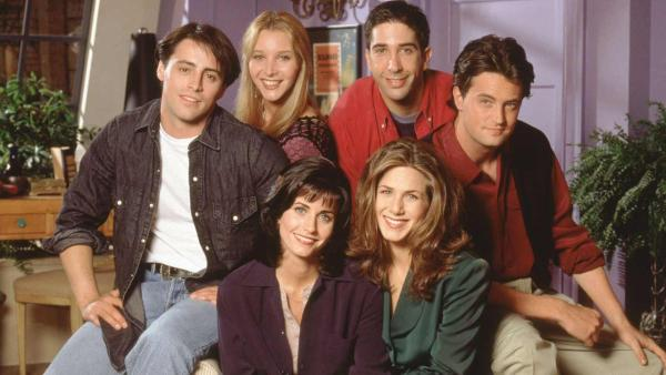 The cast of Friends appear in a season 1 promotional photo. - Provided courtesy of NBC