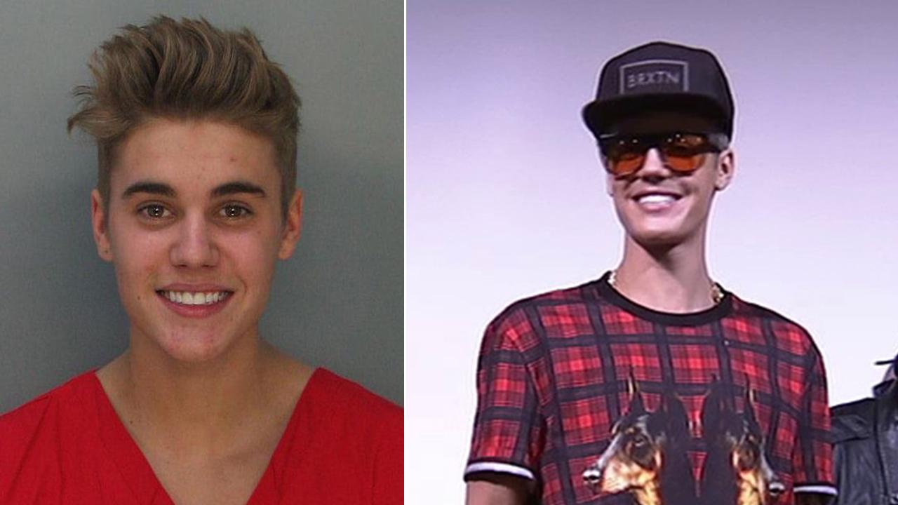 Justin Bieber is seen in a mug shot taken after he was arrested in Miami on Jan. 23, 2014 on suspicion of DUI and and drag-racing. / Justin Bieber surprises fans at a screening of his new movie Believe on Dec. 16, 2013.