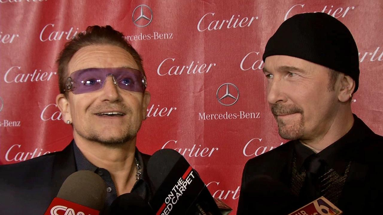 Bono and The Edge of u2 talk to OTRC.com at the Palm Springs International Film Festival in Palm Springs on Jan. 4, 2014. They received the Sonny Bono Visionary Award for their song, Ordinary Love, which is featured in Mandela: Long Walk to Freedom.