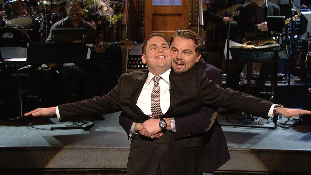 Jonah Hill and Leonardo DiCaprio appear on Saturday Night Live on Jan. 25, 2014.